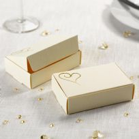 Contemporary Heart Cake Boxes - Ivory & Gold (10)